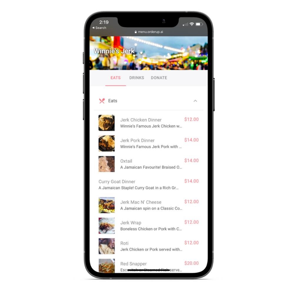 OrderUp mobile friendly digital menu