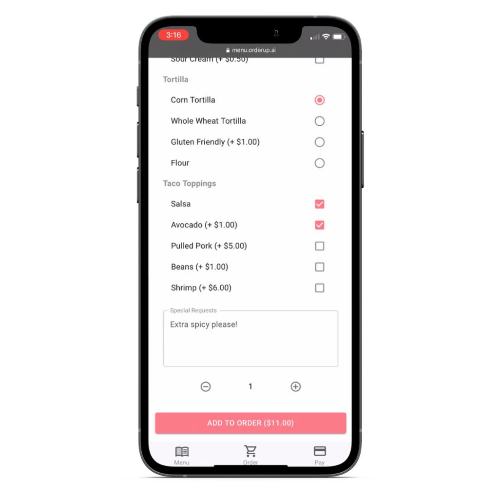 Adding modifiers to an item on a digital menu